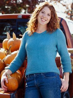 Very Cool V-Neck Sweater You Can Knit Casual and comfortable, this simple sweater is graced with  garter-stitch ribs. The v-neck, three-quarter-length sleeves, and cropped hem make this a favorite to wear.