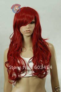 Red Wigs for Women | Wholesale Beautiful long red hair curly human made women's wig+gift ...