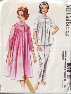 mccall's 6018, vintage 60s pajamas and housecoat pattern, size 12, bust 32 FREE SHIPPING to canada and usa. $7.00, via Etsy.