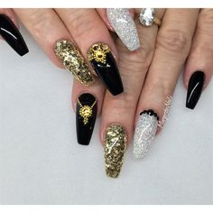 Black And Gold Coffin Nails by MargaritasNailz