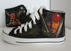 custom converse pirates of carribean  shoes johny depp  hand painted on Converse  sneaker great gift. $89.99, via Etsy.