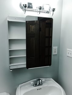 ikea brickan sliding medicine cabinet in my freshly painted rehabu0027d bathroom i can