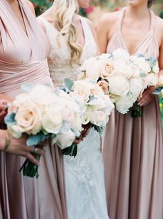 blush roses and dusty miller bouquets