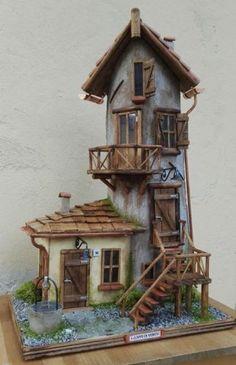 Casetta 8 Haunted Dollhouse, Diy Dollhouse, D - Top Paper Crafts Miniature Crafts, Miniature Fairy Gardens, Miniature Houses, Haunted Dollhouse, Diy Dollhouse Miniatures, Dollhouse Interiors, Medieval Houses, Fairy Garden Houses, Diy Fairy House