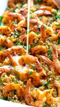 Garlic Butter Shrimp and Quinoa Recipe ~ a simple 30 minute dinner that is elegant and full of flavor.