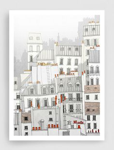 Paris illustration Paris Montmartre Art by tubidu on Etsy, $20.00