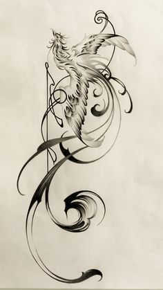 phoenix with brushstrokes,tattoo design,鳳凰,刺青 sumi tattoo, タトゥー 刺青 水墨画 artwork, tattoo shop, Japanese style tattoo