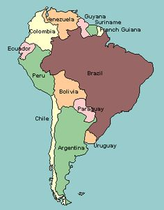 map of South America with countries labeled