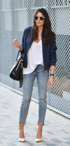 Federica L. + bomber jacket trend + royal blue+ classic distressed denim jeans + white stilettos.  Top: Zara, Jacket: Shein, Jeans: Bershka.