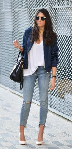 Federica L. + bomber jacket trend + royal blue+ classic distressed denim jeans + white stilettos.  Top: Zara, Jacket: Shein, Jeans: Bershka.