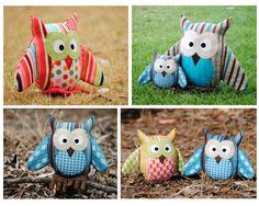 Owl pattern PDF sewing pattern to make a stuffed owl for use as a soft toy plushie cushion pillow nursery decor home decor gift giving etc These wise old owls Owl Crafts, Cute Crafts, Crafts To Sell, Sell Diy, Sewing To Sell, Sewing For Kids, Softies, Plushies, Owl Sewing Patterns
