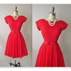 50's Red Chiffon Dress // Vintage 1950's Red Chiffon Rhinestone Cocktail Party Prom Dress XS