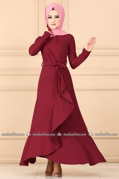 moda selvim Pile Detay Kemerli Elbise 4041-5EF311 Bordo Red Frock, Frocks, High Neck Dress, Dresses With Sleeves, Long Sleeve, Collection, Fashion, Turtleneck Dress, Moda
