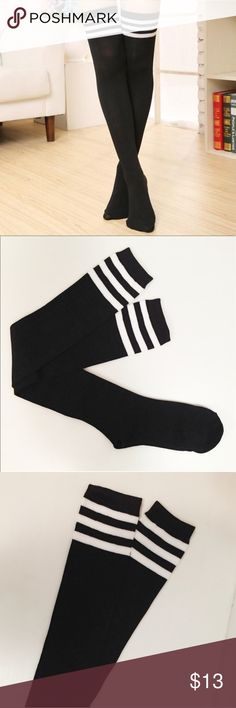 """•Black & White Knee-High Socks• Summer is coming up....and every woman needs a great pair of knee-high socks in their wardrobe! These are black with 3 white stripes. Brand new and super comfy. Length: 28"""" Accessories Hosiery & Socks"""