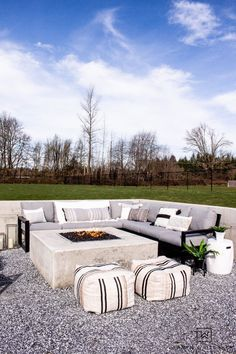 Tour this modern outdoor fire pit seating area with gorgeous Polywood outdoor furniture and neutral tones. Gallery Wall Staircase, Staircase Wall Decor, Outdoor Rooms, Outdoor Living, Outdoor Fire, Outdoor Decor, Polywood Outdoor Furniture, Outdoor Furniture Sets, Fire Pit Seating