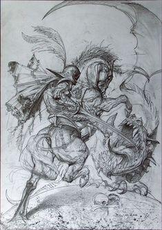Jordi killing the Dragon, by Simon Bisley Horse Drawings, Art Drawings, Kadu Tattoo, Saint George And The Dragon, Simon Bisley, Black White Art, Fantastic Art, Horse Art, Comic Artist