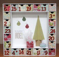calendrier de l'avent - Clean and Simple C&s - Aurore - vert bleu rouge - sapin en relief