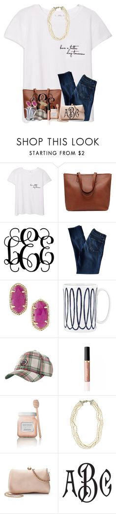 """Pour another drink so I don't feel a thing"" by livnewell ❤ liked on Polyvore featuring MANGO, 7 For All Mankind, Kendra Scott, Too Faced Cosmetics, Kate Spade, Southern Proper, Laura Mercier, J.Crew and LC Lauren Conrad"