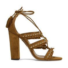 On SALE at 50% OFF! tulum fringed studded suede sandals by Aquazzura. Italian sizing Heel measures approximately 105mm/ 4 inches . Tan suede . Ties at ankle . Made in Italy As seen in THE...