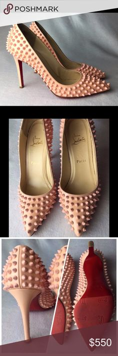 Pigalle 100 Spikes Pink Powder Patent Pump Euro 38 Great condition, worn handful of times. Light signs of wear on the insoles. One small scratch on the heel, fixed but still visible at closer look (refer to pics). The bottoms of the shoes have been resoled by professional cobbler with expensive red stick-on soles.  This means that your beautiful Louboutins are permanently protected using top quality rubber sole protection.  Come with original dust bag only, NO box and extra taps. No receipt…
