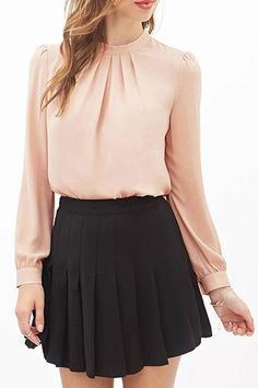 Round Neck Ruffle Solid Color Long Sleeve Shirt PINK: Blouses | ZAFUL