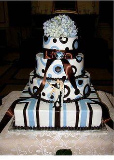 Wedding Ideas - Modern Blue and Brown Cake