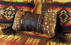 Western art pillow vintage style brown