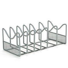 Instantly organize your pot lids and frying pans for easy access with the Mesh Pot and Lid Organizer. This rack eliminates clutter and makes it easy to find the lids you need. Optional mounting hardware for installation inside cabinet.