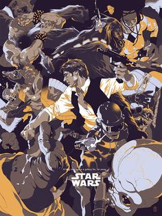 kogaionon: Star Wars - Neon Han & Goldie Han by Tomer Hanuka . Originally commissioned by Entertainment Weekly and art directed by Keir Novesky. Tomer Hanuka, Star Wars Poster, Star Wars Art, Mc Bess, Comics Illustration, Movie Poster Art, Print Poster, Art Print, Alternative Movie Posters