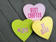 How to make wood conversation hearts >> http://www.diynetwork.com/made-and-remade/make-it/a-valentine-heart-for-all-your-partys-needs?soc=pinterest