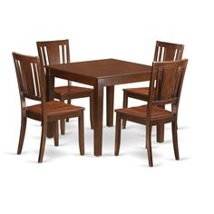 Oxford Mahogany Square 5-piece Dinette Dining Set