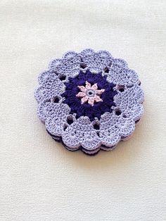 Lavender Pink Purple Crochet Coasters set of 6 by EstersDoilies