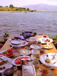 Turkish Breakfast at Bafa Lake on the Aegean coast of Turkey