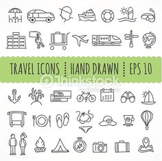 Hand drawn travel icons made in vector
