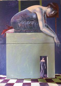 """""""ripensamento viola"""" 2012 olio su tela 100x140"""