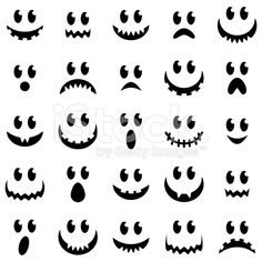 Vector Collection of Spooky Halloween Ghost and Pumpkin Faces royalty-free stock vector art
