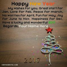 Amazing Write Your And Others Name On Happy New Years Eve 2017 Wishes With Name In  Beautiful Style. Best App To Write Names On Beautiful Collection Of New  Year ...