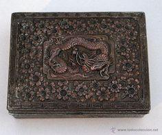 ANTIGUA CAJITA/JOYERO ORIENTAL EN METAL Y MADERA DE CEDRO. (Antigüedades - Decoración - Cajas Antiguas)
