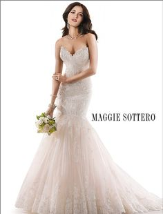 Bridal Gowns: Maggie Sottero Mermaid Wedding Dress with Sweetheart Neckline and Dropped Waist Waistline