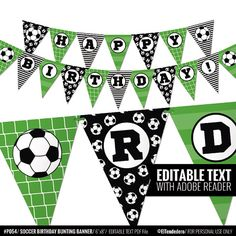 Soccer bunting banner to decor your birthday party. by eltendedero