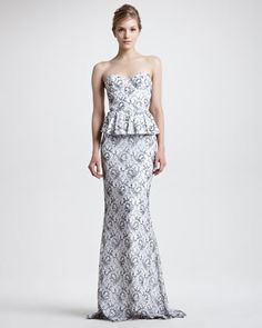 Penelope Strapless Peplum Gown by Alice + Olivia at Neiman Marcus.