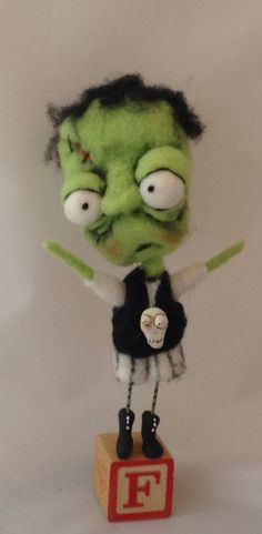 Frank ooak monster art doll by papermoongallery