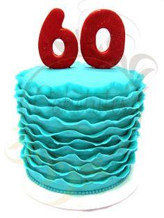 Caketutes Cake Designer: Bolo 60 Frisado Turquesa ( ruffled cake )