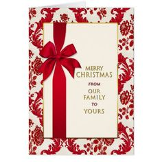 Christmas- From Our Family/Yours -Gift Red Ribbon Card - pattern sample design template diy cyo customize