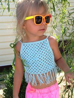 Blue crochet granny square fringe toddler top Boho summer festival kids crop top Open back halter top Beach clothing children's Photo shot Crochet Toddler, Crochet Girls, Cute Crochet, Crochet For Kids, Crochet Hood, Knit Crochet, Crochet Granny, Tops Boho, Crop Tops For Kids