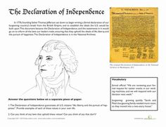 Fifth Grade History Worksheets: Thomas Jefferson and the Declaration of Independence