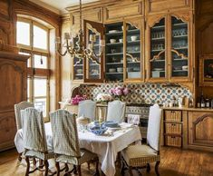75 Beautiful French Country Kitchen Design and Decor Ideas - Homekover French Country Dining Room, Modern French Country, French Country Kitchens, French Country House, French Country Decorating, French Cottage, French Farmhouse, French Style, Farmhouse Decor