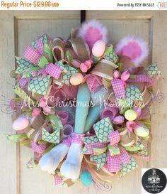 Easter Sale 10% off Easter wreath burlap by MrsChristmasWorkshop