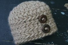 """Baby Boy's crochet Alpaca hat in the color """"Bobcat"""" (camel), Newborn  Ready to be Shipped- 0-3 month, 3-6 month. $27.00, via Etsy."""