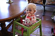 DIY restaurant style highchair lets baby sit at the table, and is easily tucked under the table like any other chair when not in use.